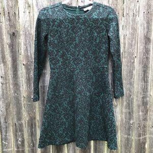 Loft | Petite Green Velvet Winter Dress